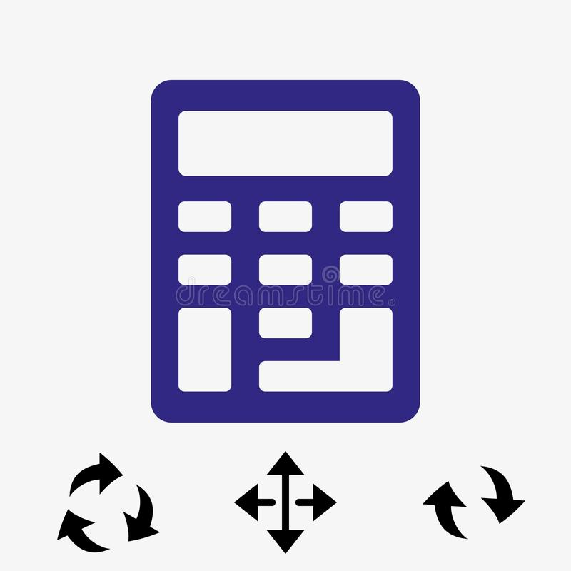 Progettazione piana dell'illustrazione di vettore delle azione dell'icona del calcolatore illustrazione vettoriale
