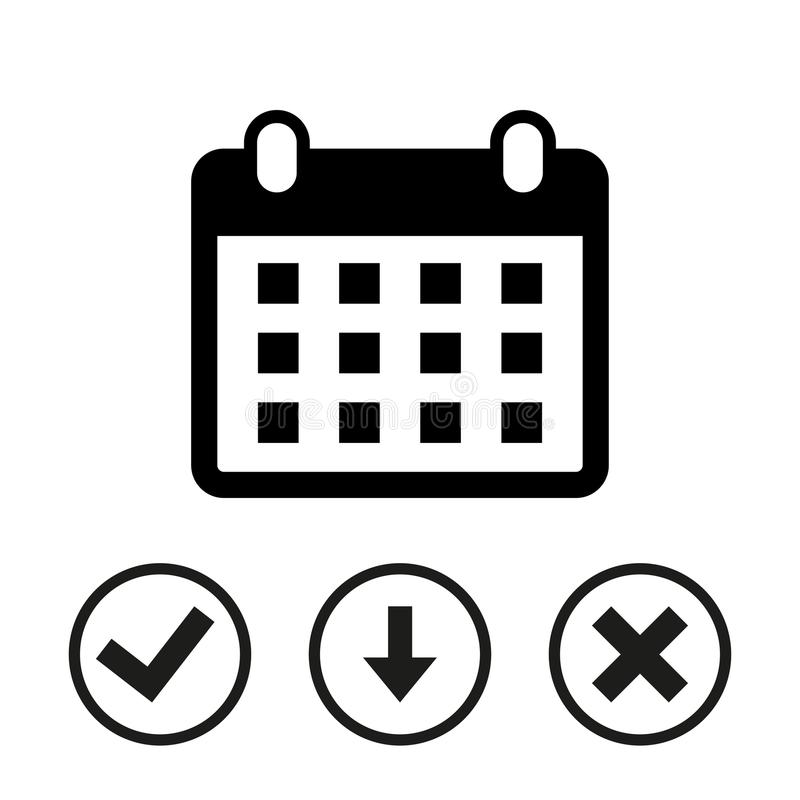 Progettazione piana dell'illustrazione di vettore delle azione dell'icona del calendario illustrazione di stock