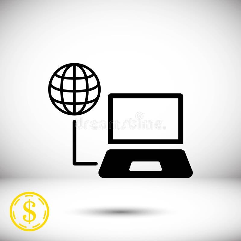 Progettazione piana dell'illustrazione di vettore delle azione dell'icona del globo del computer portatile illustrazione di stock