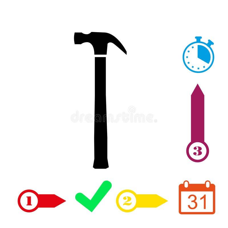 Progettazione piana dell'illustrazione di vettore delle azione dell'icona del martello illustrazione vettoriale