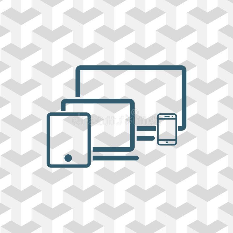 Progettazione piana dell'illustrazione di vettore delle azione dell'icona del telefono della compressa del computer portatile del royalty illustrazione gratis