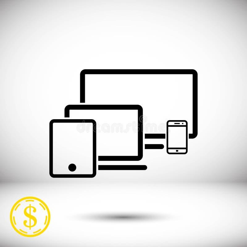 Progettazione piana dell'illustrazione di vettore delle azione dell'icona del telefono della compressa del computer portatile del illustrazione vettoriale