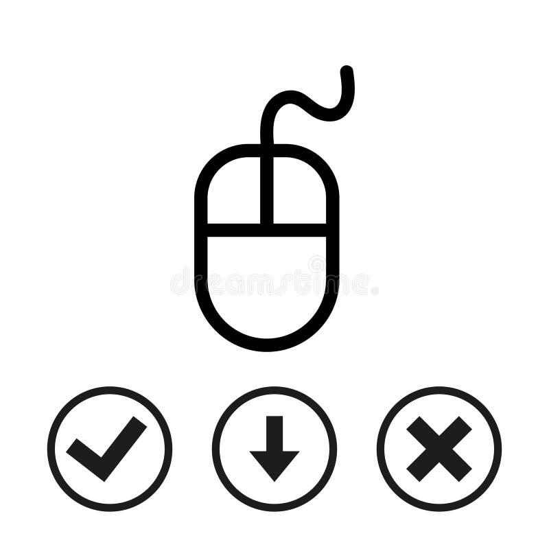 Progettazione piana dell'illustrazione di vettore delle azione dell'icona del topo del computer illustrazione vettoriale