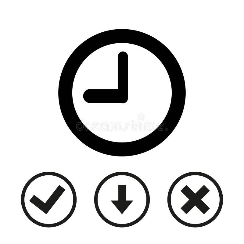 Progettazione piana dell'illustrazione di vettore delle azione dell'icona dell'orologio illustrazione vettoriale