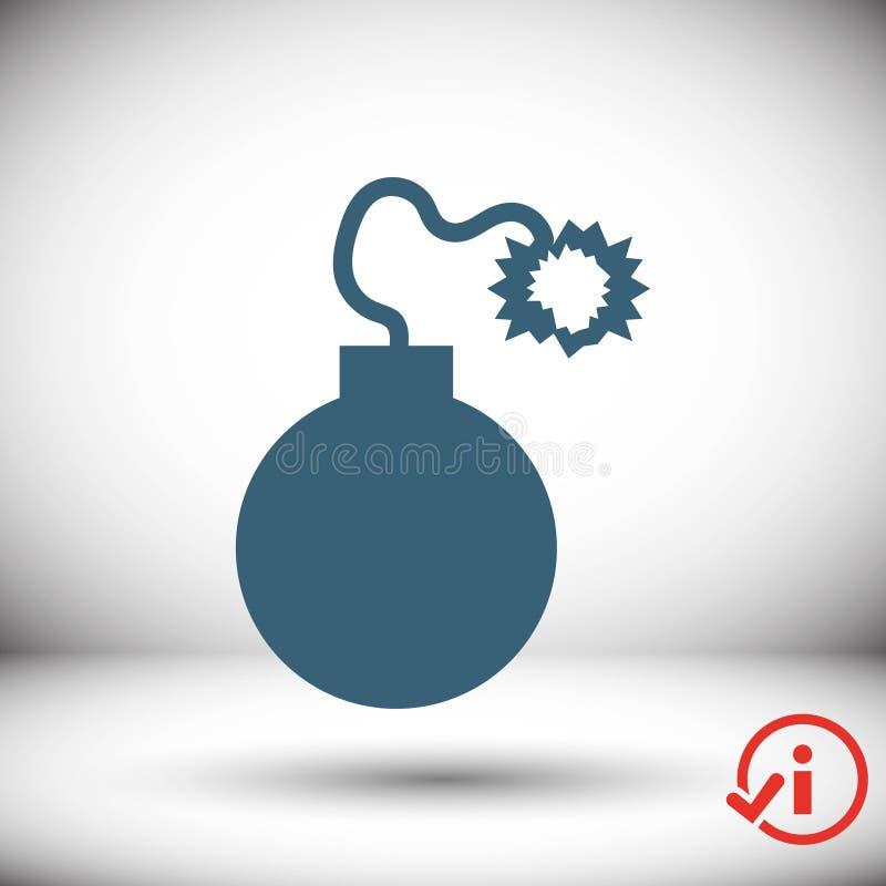 Progettazione piana dell'illustrazione di vettore delle azione dell'icona della bomba illustrazione di stock
