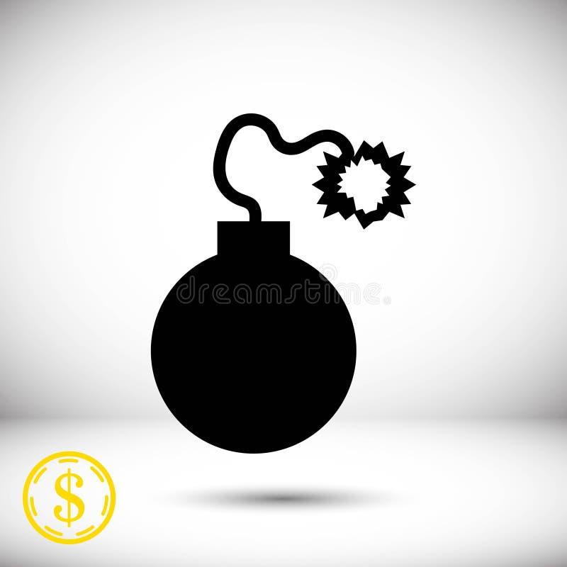 Progettazione piana dell'illustrazione di vettore delle azione dell'icona della bomba royalty illustrazione gratis