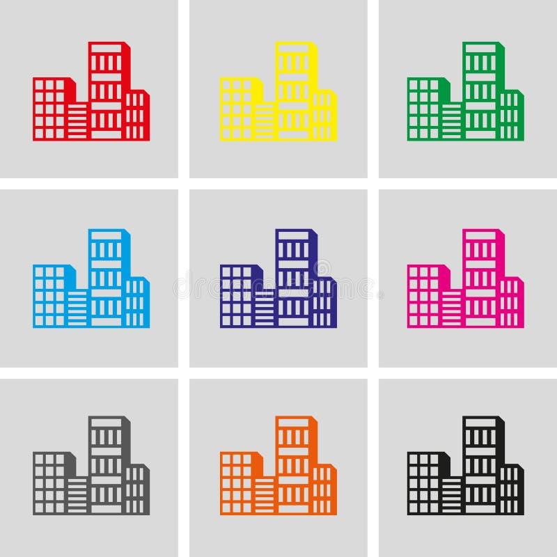 Progettazione piana dell'illustrazione di vettore delle azione dell'icona della città royalty illustrazione gratis