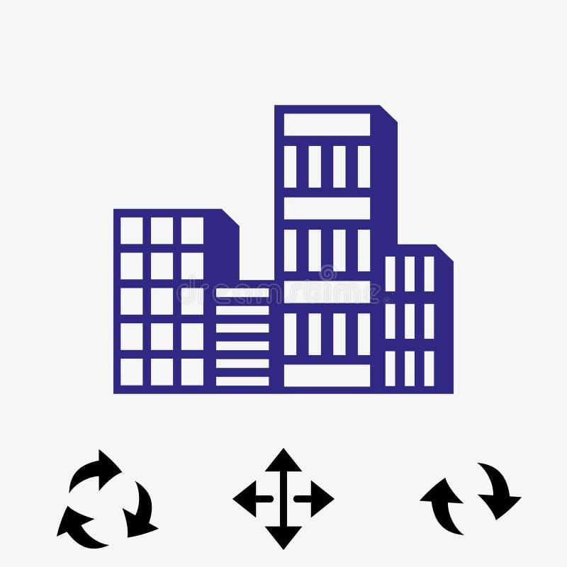 Progettazione piana dell'illustrazione di vettore delle azione dell'icona della città illustrazione vettoriale
