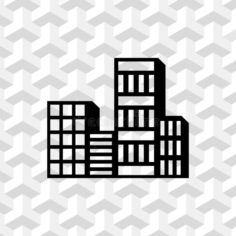 Progettazione piana dell'illustrazione di vettore delle azione dell'icona della città illustrazione di stock