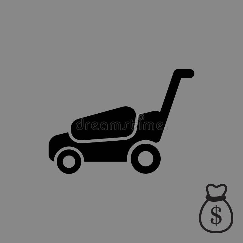 Progettazione piana dell'illustrazione di vettore delle azione dell'icona della falciatrice royalty illustrazione gratis