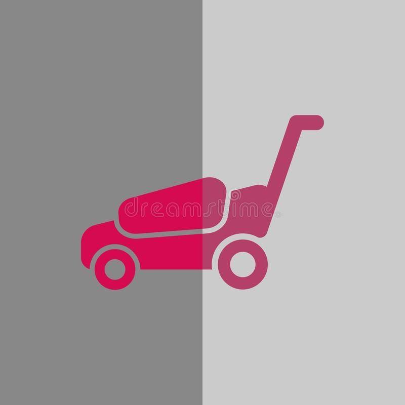 Progettazione piana dell'illustrazione di vettore delle azione dell'icona della falciatrice illustrazione vettoriale