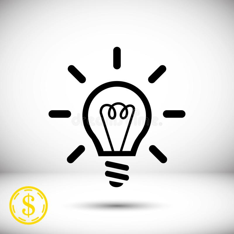 Progettazione piana dell'illustrazione di vettore delle azione dell'icona della lampadina illustrazione vettoriale