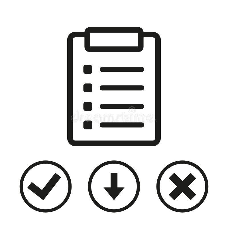 Progettazione piana dell'illustrazione di vettore delle azione dell'icona della lista di controllo illustrazione vettoriale