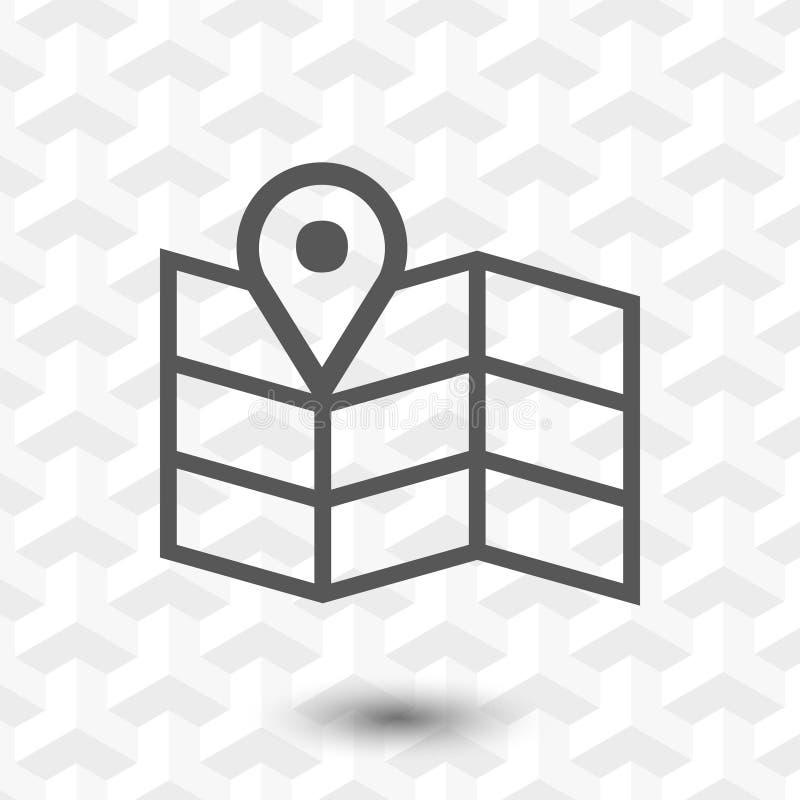 Progettazione piana dell'illustrazione di vettore delle azione dell'icona della mappa di navigazione illustrazione di stock