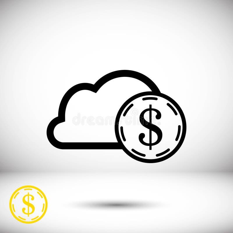 Progettazione piana dell'illustrazione di vettore delle azione dell'icona della nuvola dei soldi del dollaro royalty illustrazione gratis