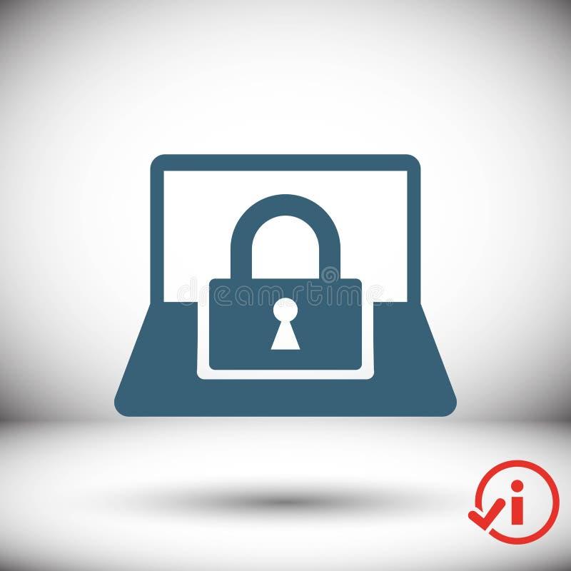 Progettazione piana dell'illustrazione di vettore delle azione dell'icona della serratura del computer portatile illustrazione di stock