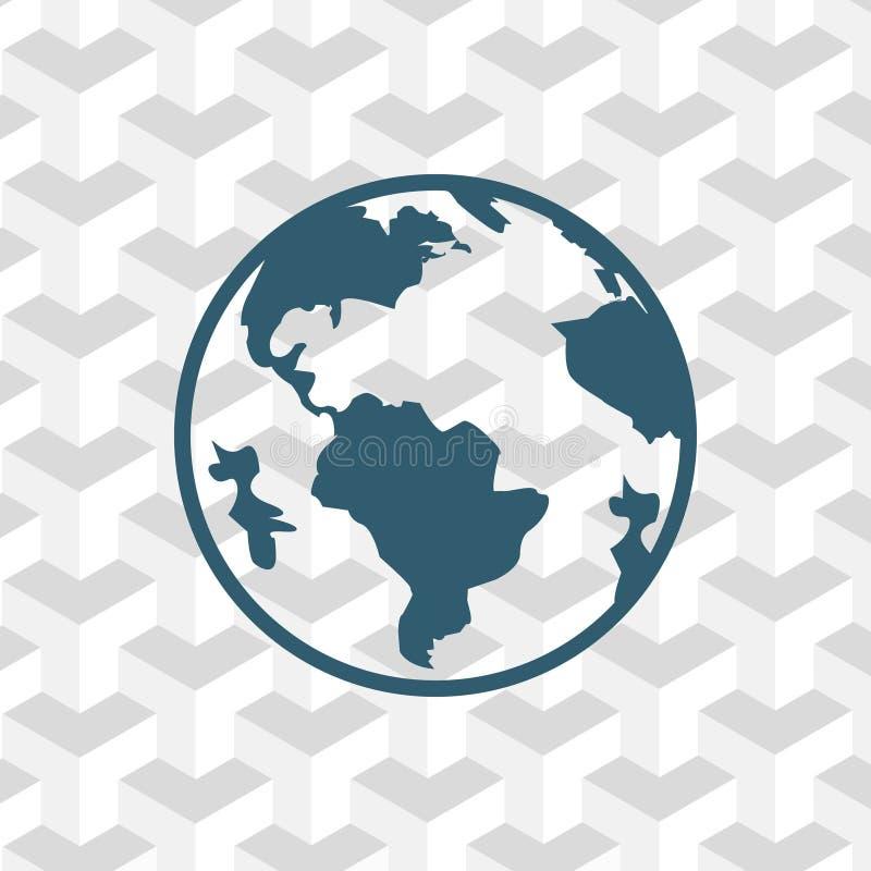 Progettazione piana dell'illustrazione di vettore delle azione dell'icona della terra illustrazione di stock