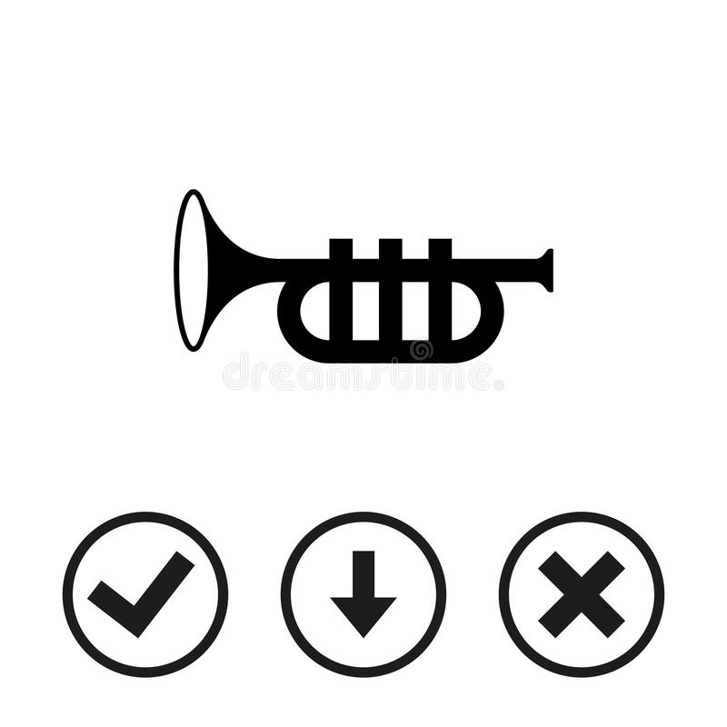 Progettazione piana dell'illustrazione di vettore delle azione dell'icona della tromba royalty illustrazione gratis