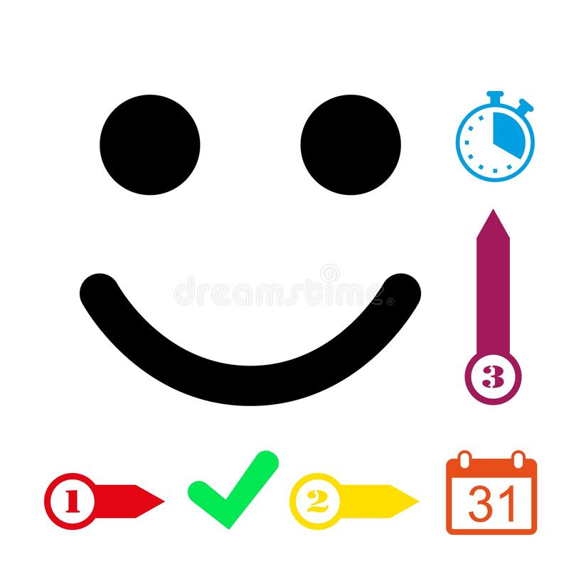 Progettazione piana dell'illustrazione di vettore delle azione dell'icona di sorriso royalty illustrazione gratis