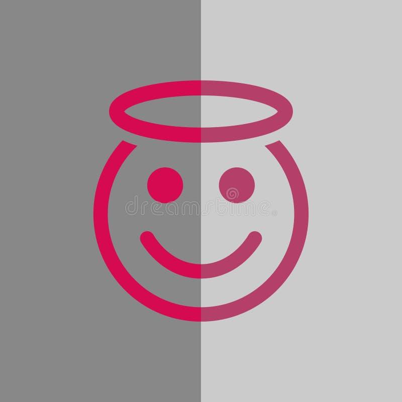 Progettazione piana dell'illustrazione di vettore delle azione dell'icona di sorriso di angelo illustrazione di stock