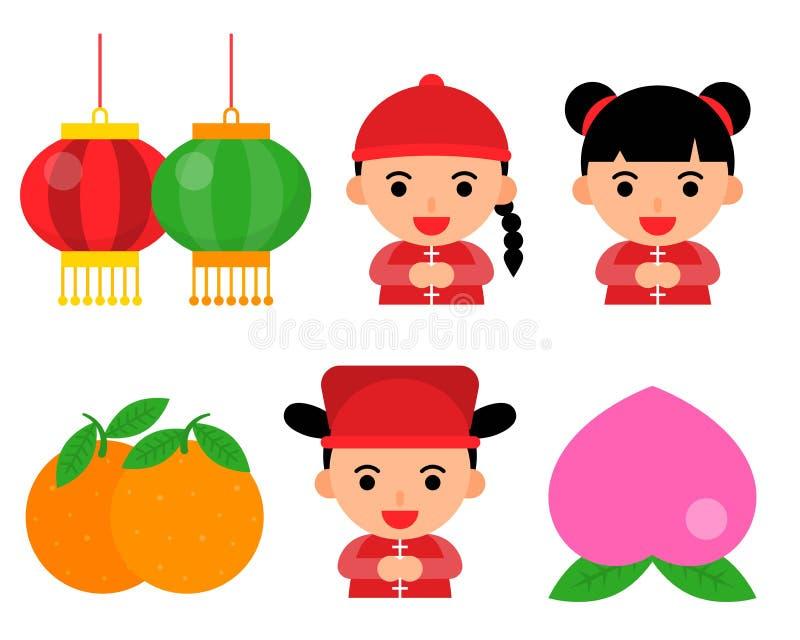 Progettazione piana dell'illustrazione materiale del nuovo anno della Cina quali la lanterna, il ragazzo cinese e la ragazza per  royalty illustrazione gratis