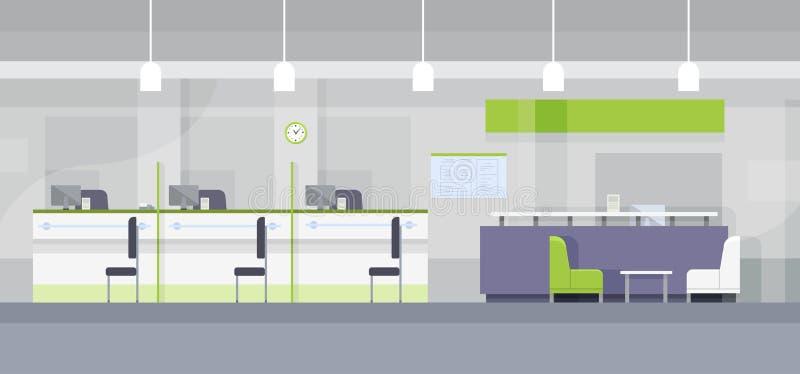 Progettazione piana della Banca dell'ufficio dello scrittorio interno moderno del posto di lavoro illustrazione di stock