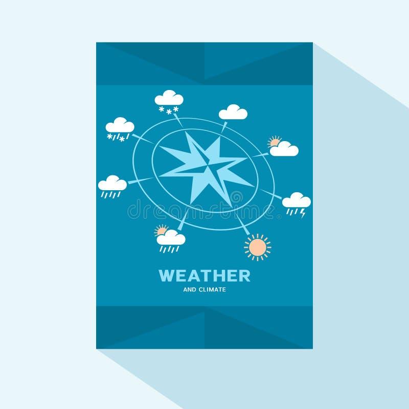 Progettazione piana della copertura dell'opuscolo con le icone del tempo e della rosa dei venti illustrazione di stock