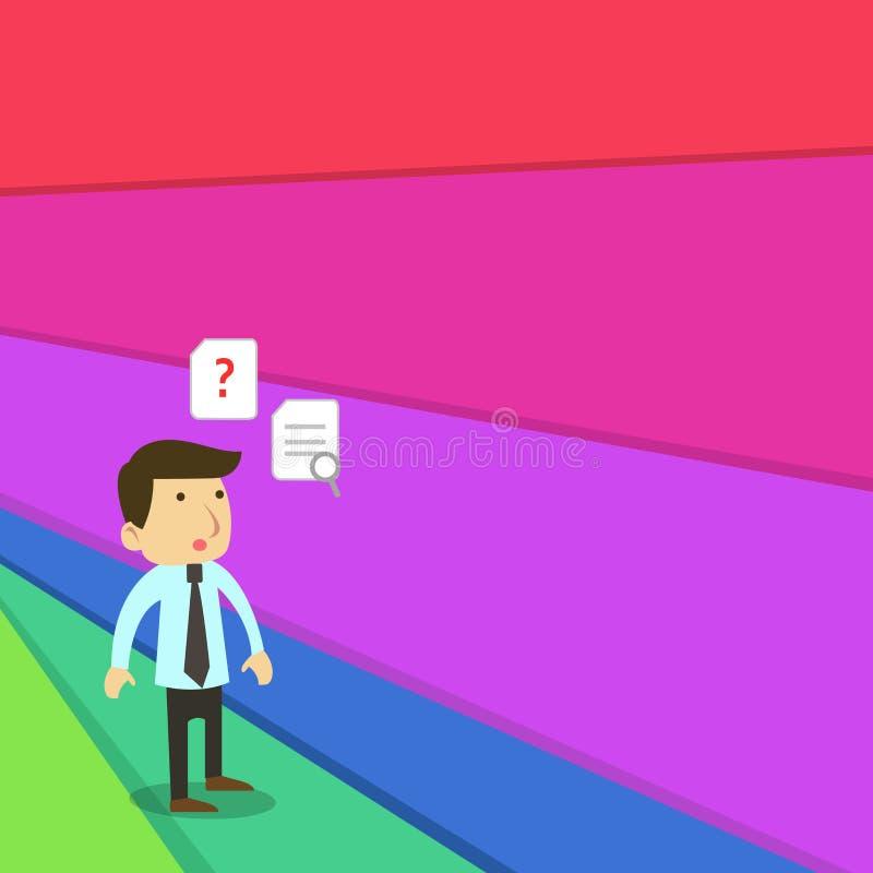 Progettazione piana della foto di giovane impiegato di concetto o uomo d'affari maschio in un legame che sta sconcertante e che p illustrazione vettoriale