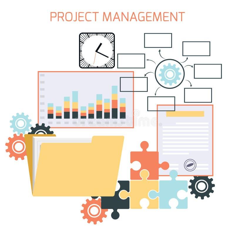 Progettazione piana della gestione di progetti royalty illustrazione gratis