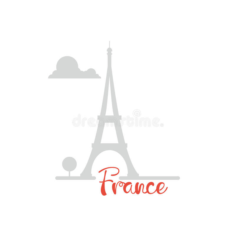 Progettazione piana della torre Eiffel con la siluetta dell'ombra del testo illustrazione vettoriale