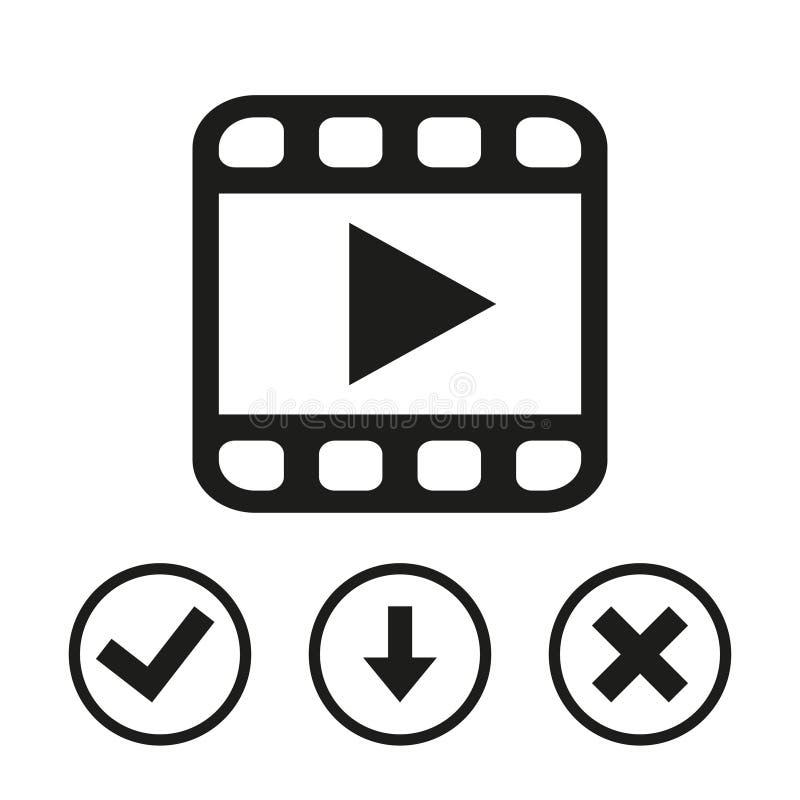 Progettazione piana della video dell'icona delle azione illustrazione di vettore illustrazione vettoriale