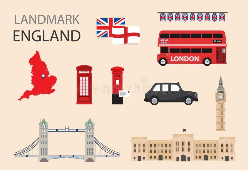 Progettazione piana delle icone dell'Inghilterra, Londra, Regno Unito illustrazione vettoriale