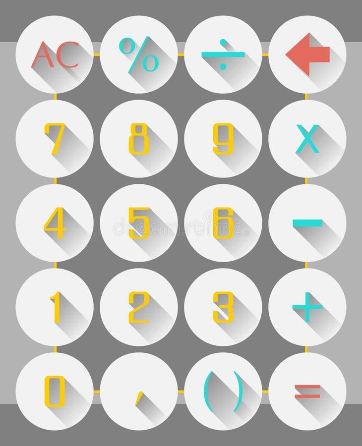 Progettazione piana delle icone dell'interfaccia del calcolatore con effetto di ombre lungo illustrazione vettoriale