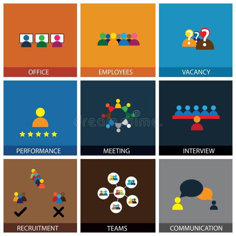 Progettazione piana delle icone di vettore della gente dell'ufficio illustrazione di stock