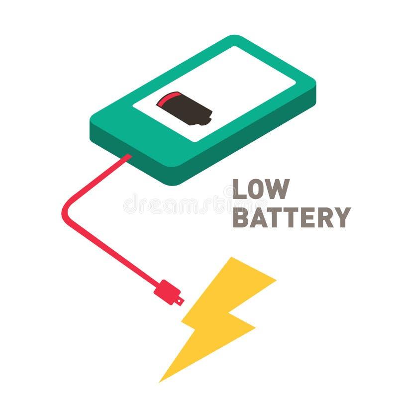 Progettazione piana dello smartphone basso della batteria immagini stock
