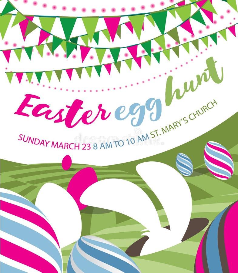 Progettazione piana di caccia dell'uovo di Pasqua con il coniglietto, la stamina e le uova di Pasqua illustrazione di stock