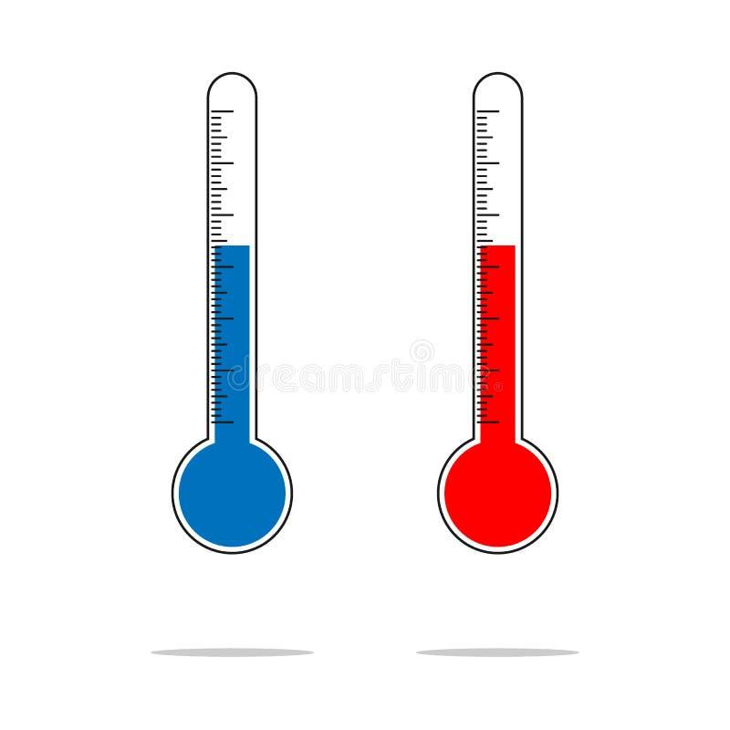 Progettazione piana di calore e di freddo di misurazione del termometro, con le icone del fiocco di neve e del sole illustrazione vettoriale