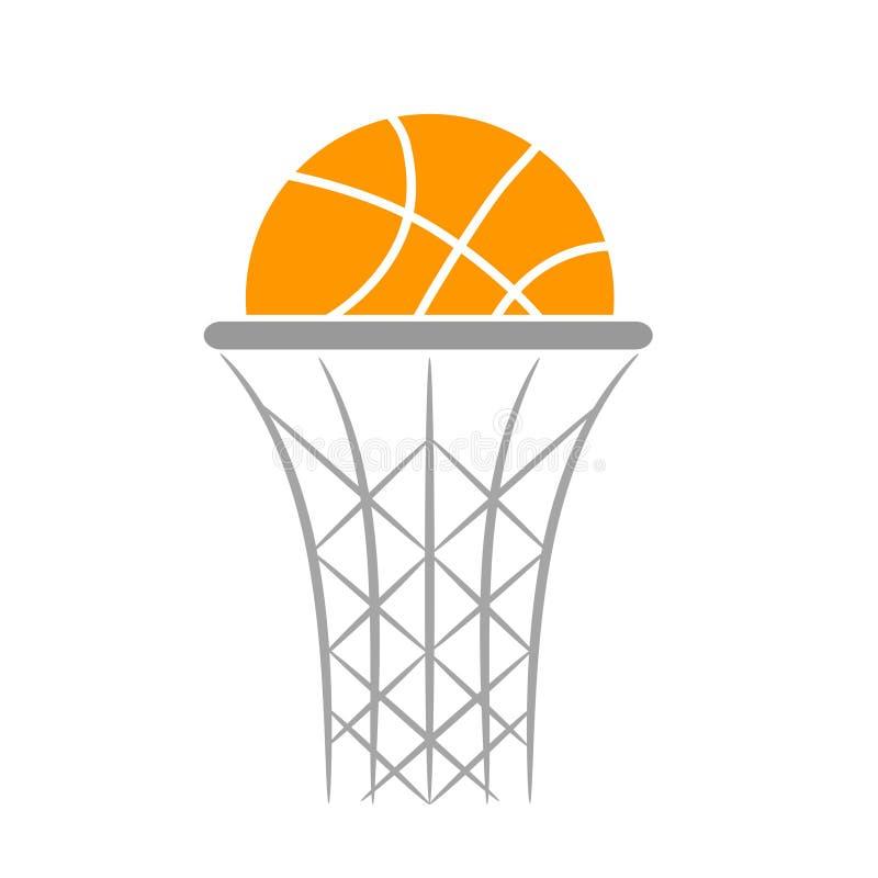 Progettazione piana di pallacanestro della palla dell'icona arancio di logo, illus di riserva di vettore illustrazione di stock