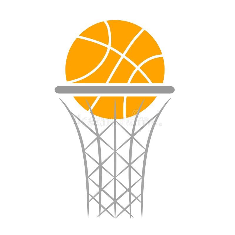 Progettazione piana di pallacanestro della palla dell'icona arancio di logo, illus di riserva di vettore royalty illustrazione gratis