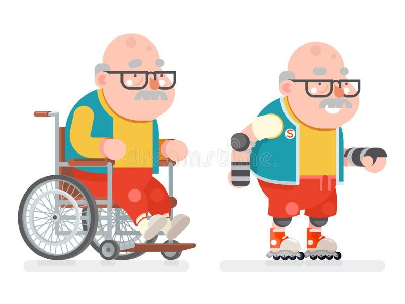 Progettazione piana di stile di vita della sedia a rotelle di rullo del pattino di sport di vecchiaia dell'uomo del fumetto sano  royalty illustrazione gratis