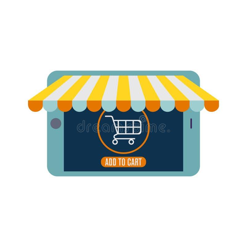 Progettazione piana di vettore con il commercio elettronico e le icone di compera online ed elementi per il negozio mobile online illustrazione vettoriale