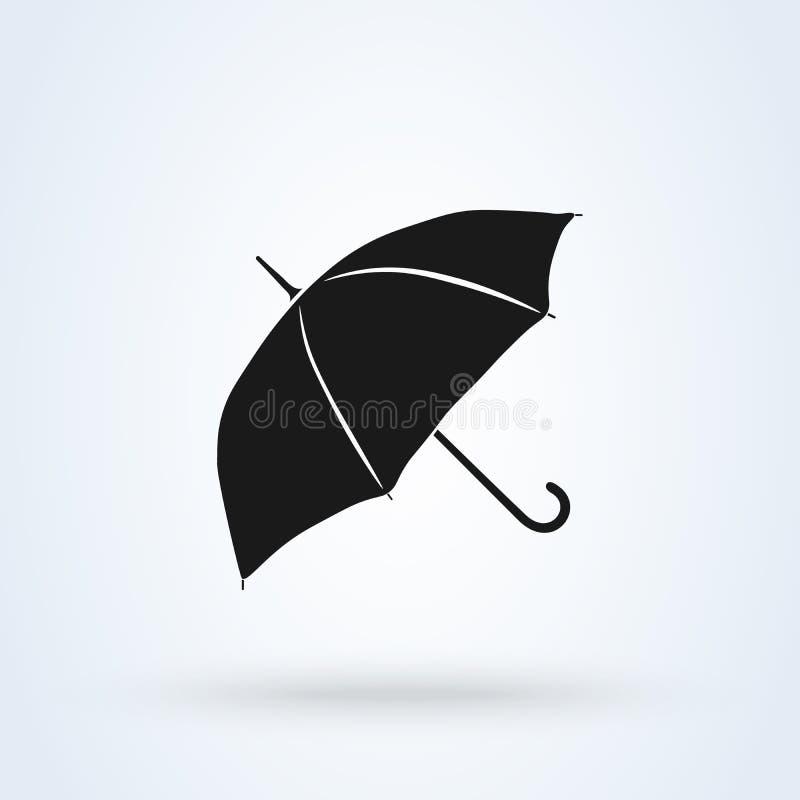 Progettazione piana di vettore dell'icona dell'ombrello ombrello di simbolo isolato su fondo bianco royalty illustrazione gratis