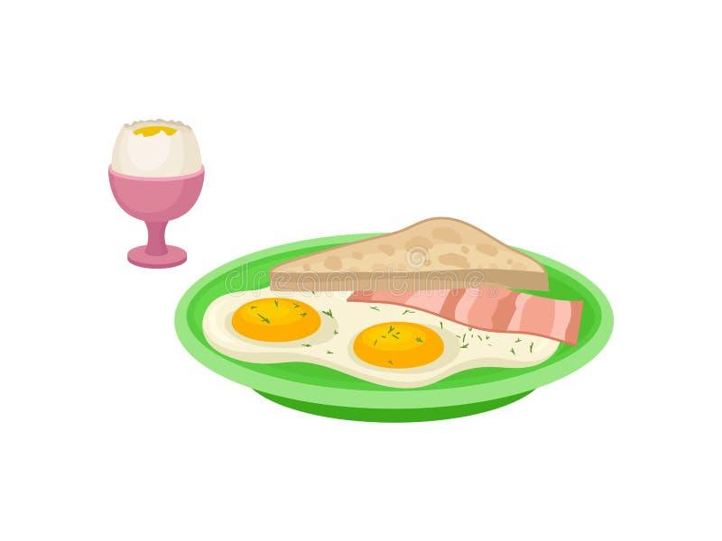 Progettazione piana di vettore dell'uovo sodo in tazza rosa, piatto verde con le uova fritte, fetta di bacon e pane Prima colazio illustrazione vettoriale