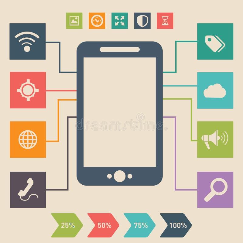Progettazione piana di vettore dello smartphone d'annata di sguardo, cellulare con differenti elementi dell'interfaccia utente illustrazione di stock