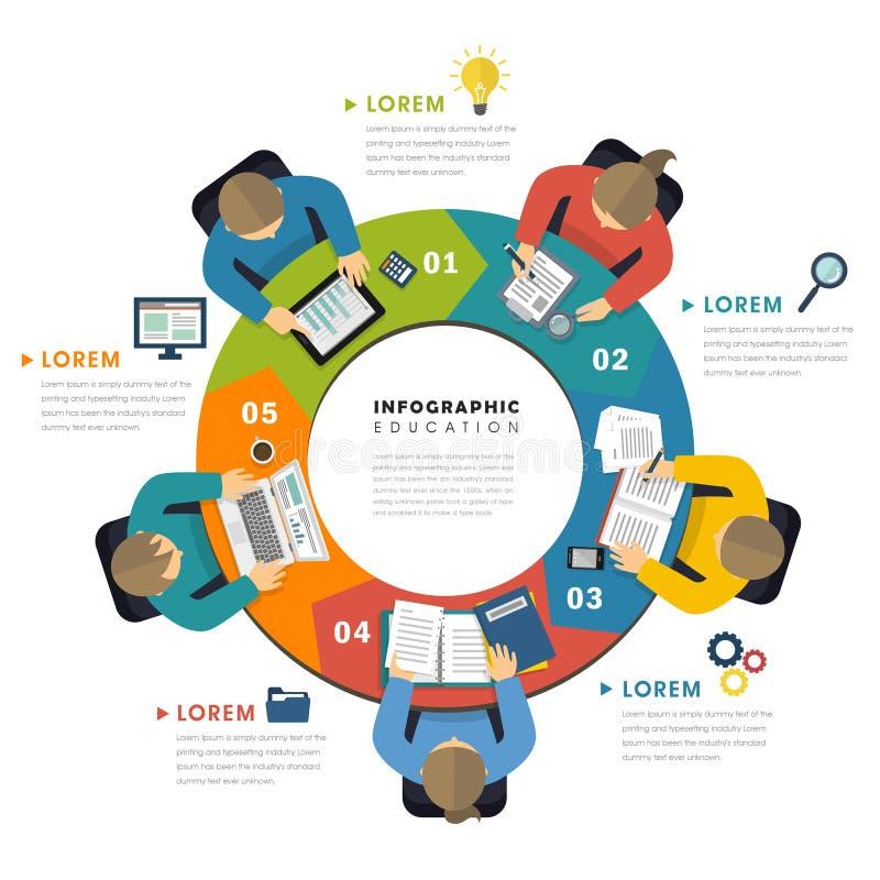 Progettazione piana infographic di istruzione illustrazione di stock