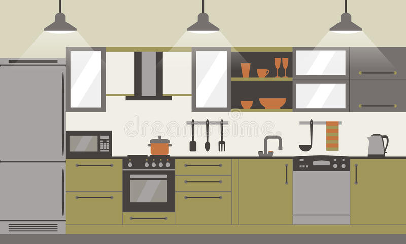 Progettazione piana interna della cucina moderna con mobilia e kithenware domestici Front View Illustrazione di vettore illustrazione vettoriale
