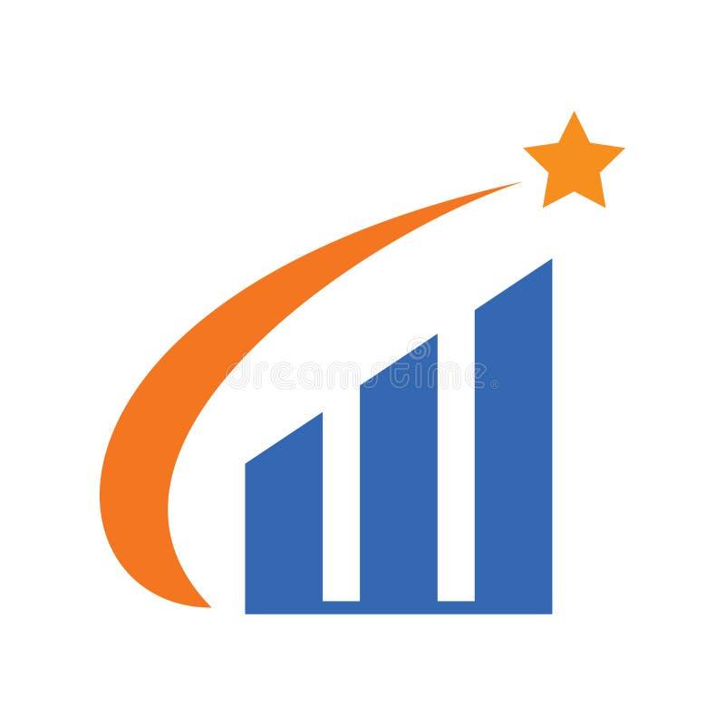 Progettazione piana Logo Vector del grafico di stella royalty illustrazione gratis