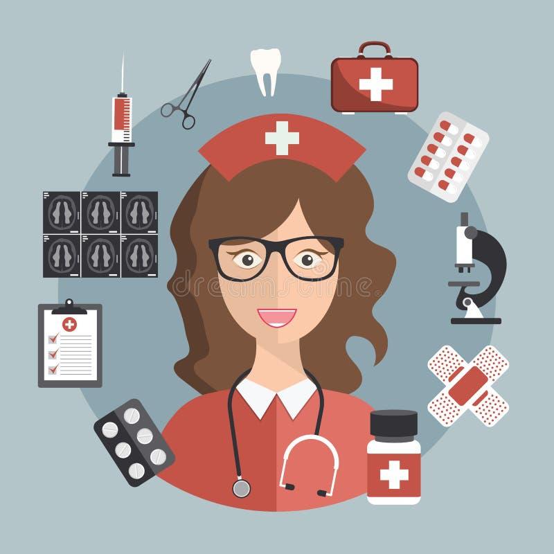 Progettazione piana medica e farmacia Sulla linea trattamento Sulla linea medico Modello moderno per lo Smart Phone o il web mobi illustrazione di stock