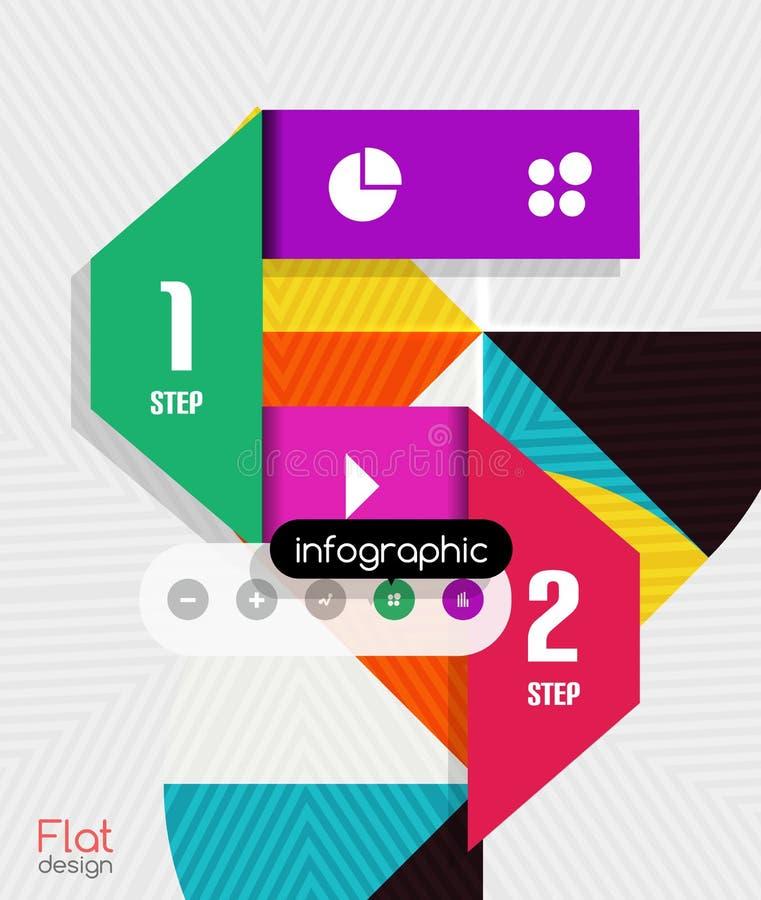 Progettazione piana moderna delle bande infographic geometriche illustrazione di stock