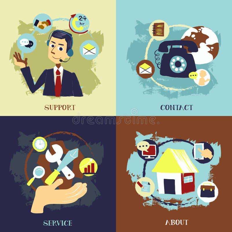 Progettazione piana per i concetti di servizio di cliente professionale illustrazione di stock